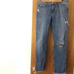 Zara Denim Distressed Jeans Women's Sz 8 Blue